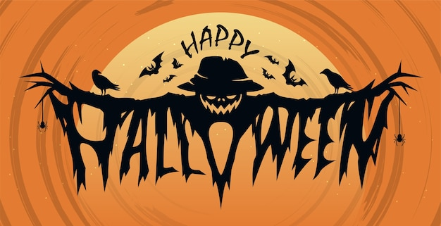 Happy halloween text design concept