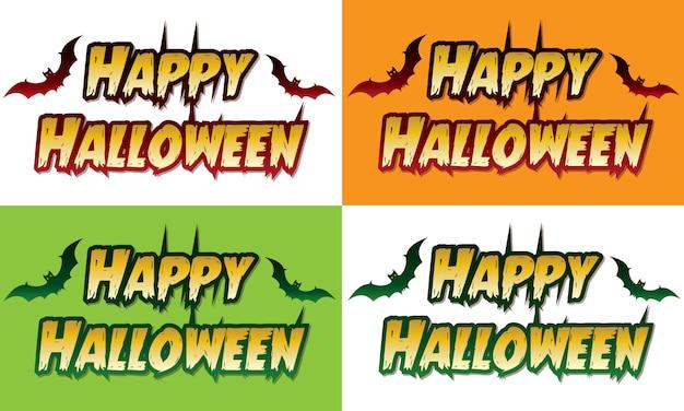 Happy halloween text design with bat