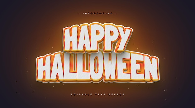 Happy halloween text style with 3d and glowing effect. editable text effect