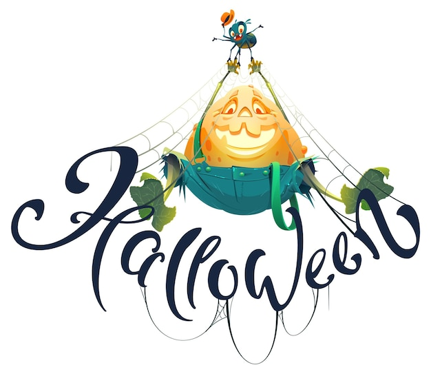 Счастливый хэллоуин текстовый шаблон поздравительной открытки веселая тыквенная лампа
