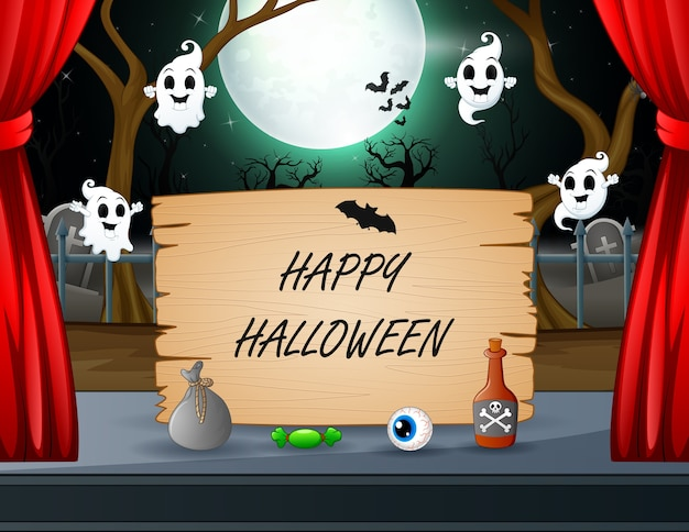 Happy halloween text with ghost flying around the sign