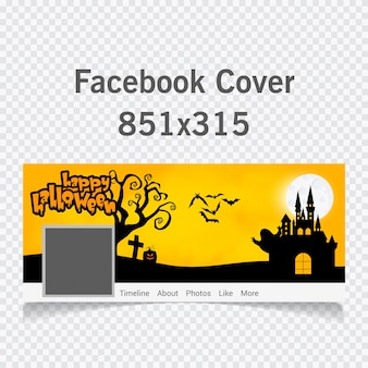Happy halloween text with scary background cover for social media