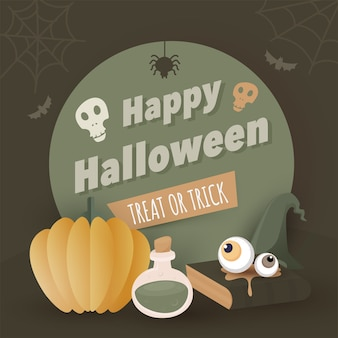 Happy halloween text with skulls, paper pumpkin, potion, eyeballs, witch hat, spider web, bats and book on olive green background for treat or trick.