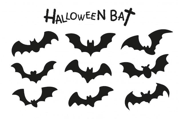 해피 할로윈. 할로윈 밤에 비행 뱀파이어 박쥐의 그룹의 그림자.