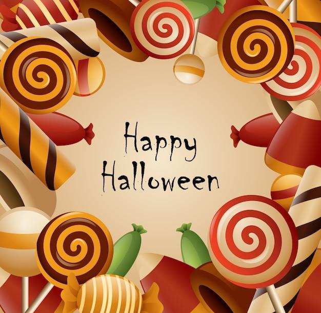 Счастливая тема хэллоуина собрала конфеты