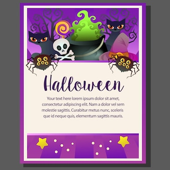 Happy halloween theme poster skull spider cat
