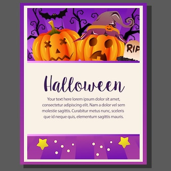 Happy halloween theme poster with funny face halloween