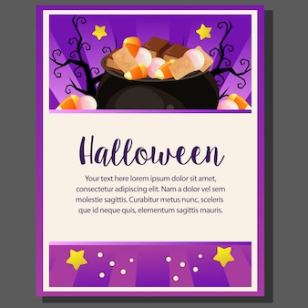 Happy halloween theme poster with pot of treat