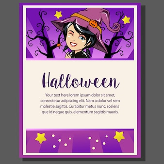 Happy halloween theme poster with witch cartoon