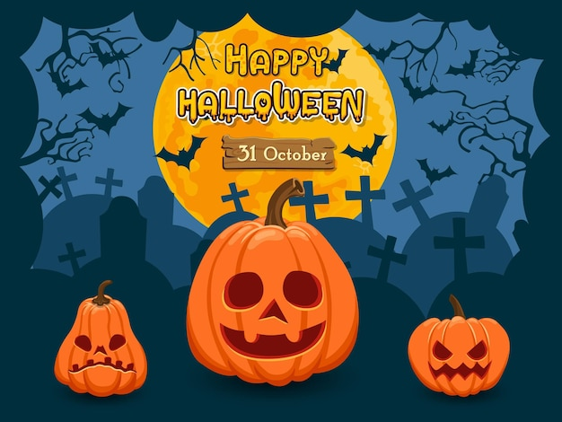 Happy halloween three  pumpkins and moon on blue night background. vector clipart illustration for holiday cards and banners