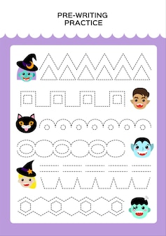 Happy halloween trace game for kids with monsters. . education game for children. super motor skills. tracing worksheet. vector