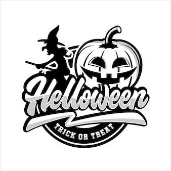 Счастливый хэллоуин трюк или логотип значка протектора