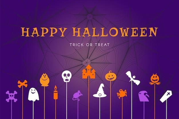 호박, 마녀, 거미, 박쥐가 있는 파티 포스터 배경을 위한 해피 할로윈 트릭이나 치료 배너. 10월 이벤트의 다채로운 그래픽 디자인입니다. 벡터 일러스트 레이 션