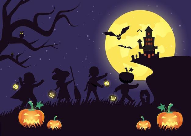 Счастливого хэллоуина празднование трюка или угощения с персонажами