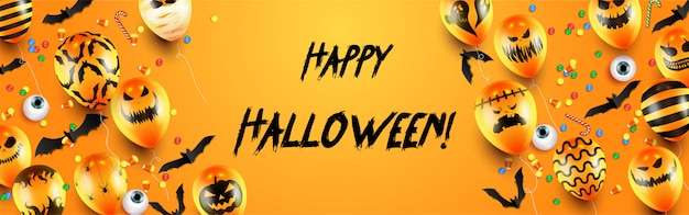 Happy halloween trick or treat banner template with scary balloons and halloween elements