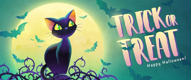 Happy halloween trick or treat banner with cartoon black cat and bat on the full moon.
