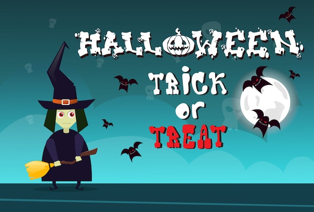 Happy halloween trick or treat celebration greeting card concept