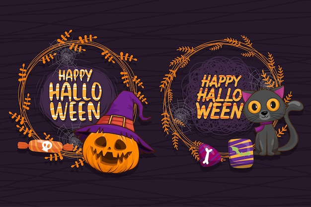 Happy halloween (trick or treat) circle frame for invitation.