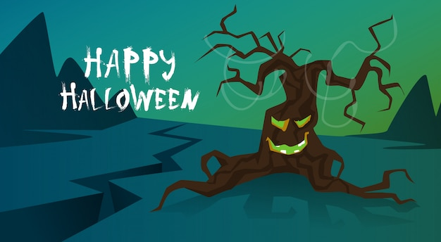 Happy halloween trick or treat concept holiday greeting card horror scary tree