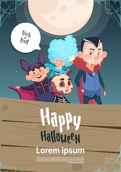 Happy halloween trick or treat cute kids monsters poster