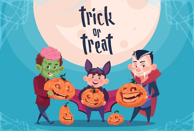 Happy halloween trick or treat. cute kids monsters with pumpkins traditional decoration greeting card