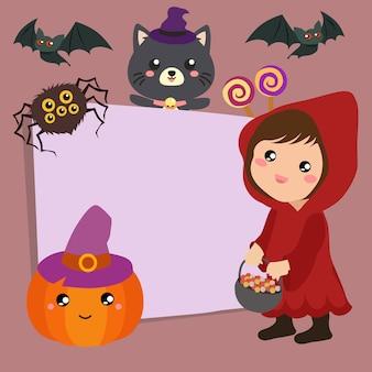 Happy halloween trick or treat hood girl
