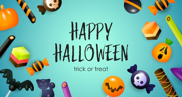Happy halloween, trick or treat lettering, candies and sweets