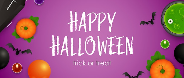 Happy halloween, trick or treat lettering, cauldron and potion
