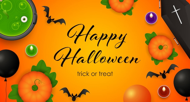 Happy halloween, trick or treat lettering, cauldron with potion