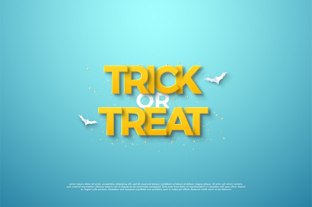 Happy halloween trick or treat lettering with clean yellow writing.