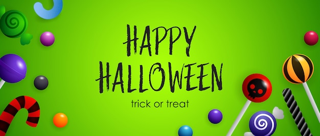 Happy halloween, trick or treat lettering with cute candies