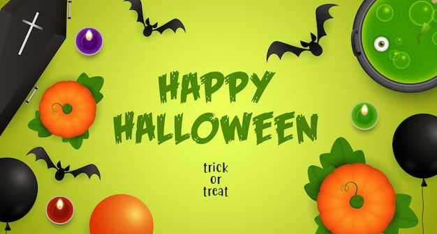 Happy halloween, trick or treat lettering with potion and bats
