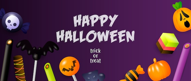 Happy halloween, trick or treat lettering with sweets