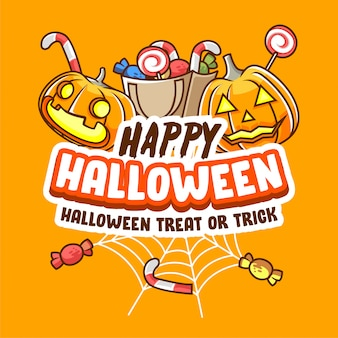 Happy halloween trick or treat party banner poster for social media-