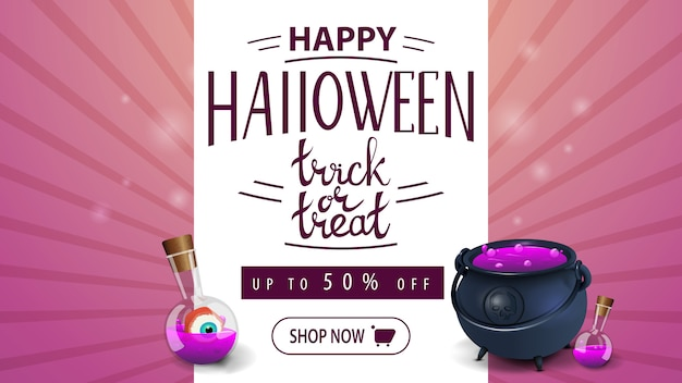 Happy halloween, trick or treat, pink congratulation discount banner