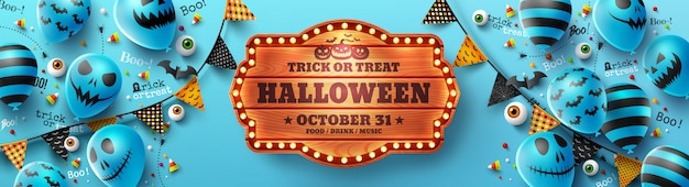 Happy halloween trick or treat poster with halloween ghost balloons