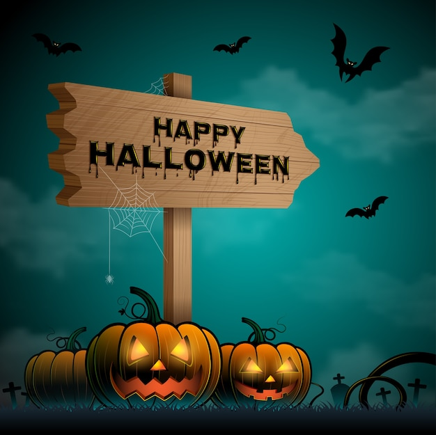 Happy halloween trick or treat pumpkins