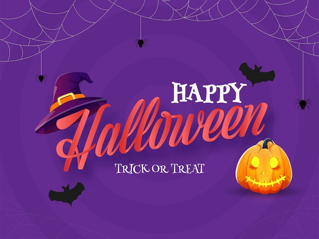 Happy halloween trick or treat text with jack-o-lantern, witch hat, bats flying and spider web on purple background.