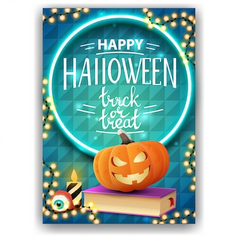 Happy halloween, trick or treat, vertical greeting card with bright design, spell book and pumpkin jack