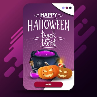 Happy halloween, trick or treat, vertical modern greeting postcard with witch's pot and pumpkin jack