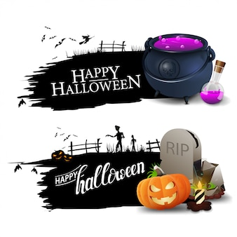 Happy halloween, two black greeting banners with witch's cauldron, tombstone and pumpkin jack.