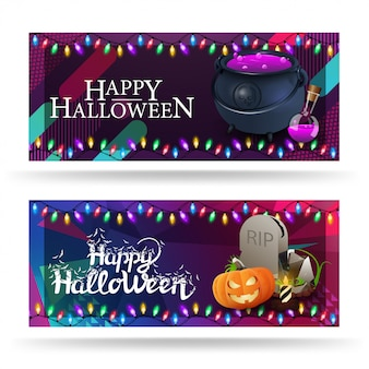 Happy halloween, two horizontal greeting cards with witch's cauldron with potion, tombstone and pumpkin jack