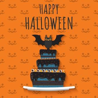 Счастливый хэллоуин вампир ба на вершине торта.