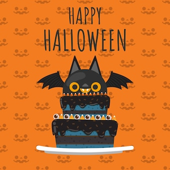 Happy halloween vampire ba on top of cake.