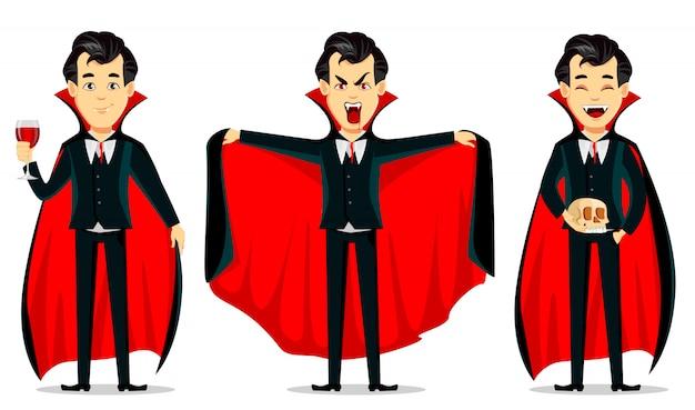 Happy halloween, vampire cartoon character