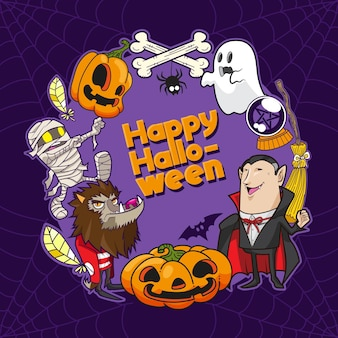 Happy halloween vector illustration background