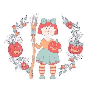 ハッピーハロウィン。ベクトルイラスト、招待状。ほうきとカボチャを手にした魔女の衣装を着た女の子。はがきは、花、枝、オレンジ色のカボチャの花輪で囲まれています。