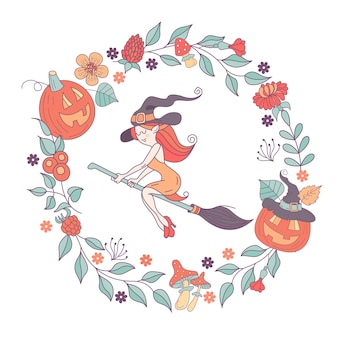 Happy halloween. vector illustration. the invitation to the party. a witch in a hat flying on a broom. a wreath of scary pumpkins, autumn herbs, mushrooms, berries and leaves.