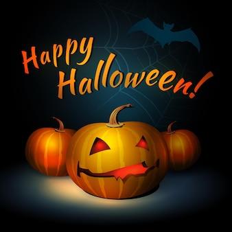 Happy halloween vector illustration with bat and pumpkin