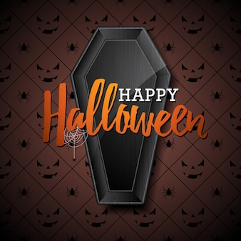 Happy halloween vector illustration with black coffin on dark background. holiday design with spiders and bats for greeting card, banner, poster, party invitation.